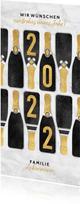 Neujahrskarte Champagnerflaschen und Jahreszahl 2022