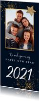 Neujahrskarte Feuerwerk, Foto und Stern