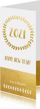 Neujahrskarte Goldlook Happy new year