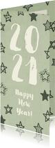 Neujahrskarte grün mit Sternen und Jahreszahl