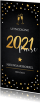 Nieuwjaarsborrel champagne uitnodiging confetti goudlook