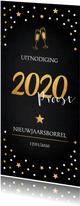 Nieuwjaarsborrel champagne uitnodiging zwart confetti