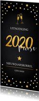 Nieuwjaarsborrel uitnodiging zwart confetti champagne