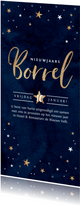 Nieuwjaarskaart borrel goudlook blauw met sterren