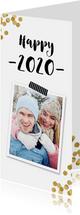 Nieuwjaarskaart confetti goud en foto - BK