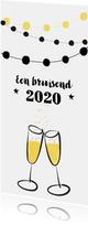 Nieuwjaarskaart feest champagne jaartal