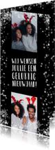 Nieuwjaarskaart, flitsende sterren met 2 foto's