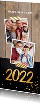 Nieuwjaarskaart foto hout krijtbord goudlook
