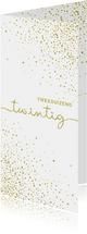 Nieuwjaarskaart glittereffect wit met'tweeduizendnegentien'