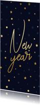 Nieuwjaarskaart gouden 'New Year', sterren en confetti