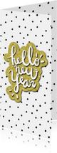 Nieuwjaarskaart 'Hello New Year' met glitter en stipjes