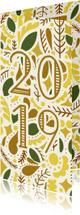 Nieuwjaarskaart  illustraties geel/goud '2019'