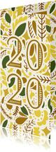 Nieuwjaarskaart  illustraties geel/goud '2020'
