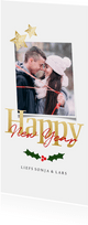 Nieuwjaarskaart langwerpig vierkant - een gouden kerst