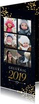 Nieuwjaarskaart met gouden confetti en 5 foto's