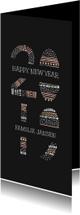 Nieuwjaarskaart met kleurrijke '2019' illustratie