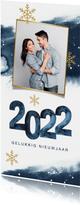 Nieuwjaarskaart waterverf sterren sneeuwvlokken 2022 foto
