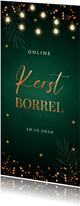 Online kerstborrel uitnodiging groen lampjes koperlook