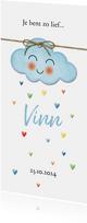 Op een blauwe wolk met regen van hartjes geboorte