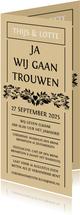 Originele trouwkaart met botanische vormen. Groot feest!