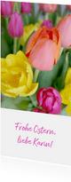Ostergrußkarte bunte Tulpen