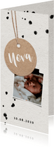 Papierlook geboortekaartje met label en spetters