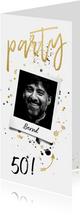 Partyeinladung Foto und Schrift in Goldlook