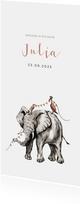 Prachtig geboortekaartje met illustratie van olifant in inkt