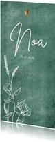 Puur geboortekaartje met wilde bloemen en bronzen hartjes
