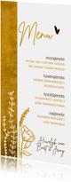 Romantische oker-gele menukaart met wilde bloemen