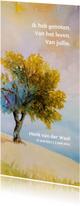 Rouwkaart Vier het leven  met beeld van zomerse boom
