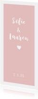 Roze rustig tweeling geboortekaartje