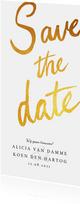 Save the date kaart klassiek en stijlvol met goud & kalender