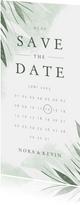 Save-the-Date-Karte Hochzeit zierliche Blätter