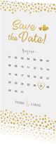 Save-the-Date-Karte mit Kalender und goldenen Herzen