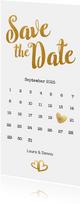 Save-the-Date-Karte zur Hochzeit Buchstaben in Goldlook