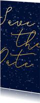 Save the date kerstkaart met gouden tekst langwerpig