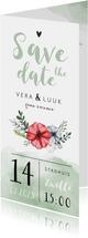 Save the date waterverf bloemen stijlvol foto groen hartje