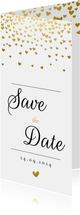 Save the datekaart met gouden hartjesregen