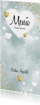 Speisekarte Aquarell blau Punkte und Herzen