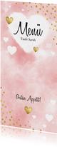 Speisekarte Aquarell rosa Punkte und Herzen