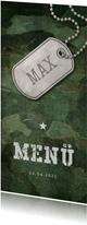 Speisekarte zur Konfirmation Militarylook grün