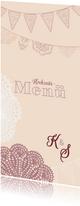 Spitze und Wimpel Menü-Karte