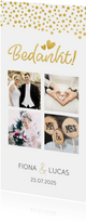 Stijlvol langwerpig bedankkaartje voor een huwelijk