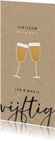Stijlvolle jubileum uitnodiging 50 jaar en champagne