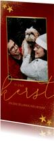 Stijlvolle lange kerstkaart met grote foto en goudlook