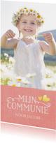 Stijlvolle langwerpige communiekaart met grote foto en roze