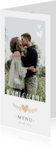 Stijlvolle langwerpige menukaart voor een huwelijk met foto