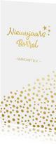 Stijlvolle langwerpige nieuwjaarsborrel uitnodiging met goud