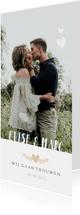 Stijlvolle langwerpige trouwkaart met eigen foto en namen